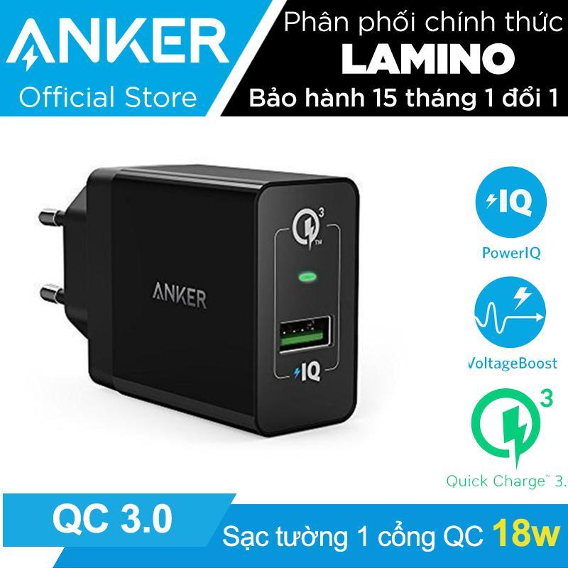 Hình ảnh Sạc ANKER PowerPort+ 1 cổng 18w Quick Charge 3.0 có PowerIQ (Đen) – Hãng Phân Phối Chính Thức