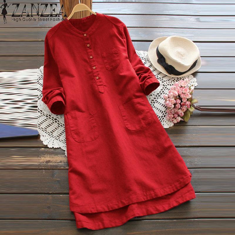 Nơi bán Đầm sơ mi ZANZEA dài tay cổ đứng đơn giản thanh lịch chất liệu 100% cotton thiết kế thời trang