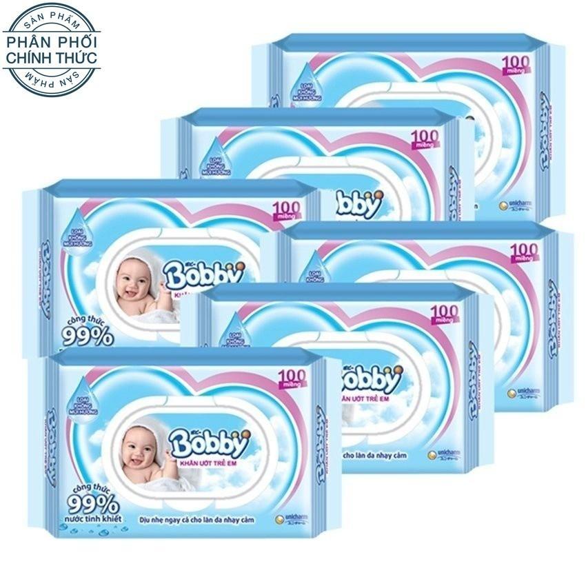 Bộ 6 gói khăn ướt Bobby không mùi 100 miếng