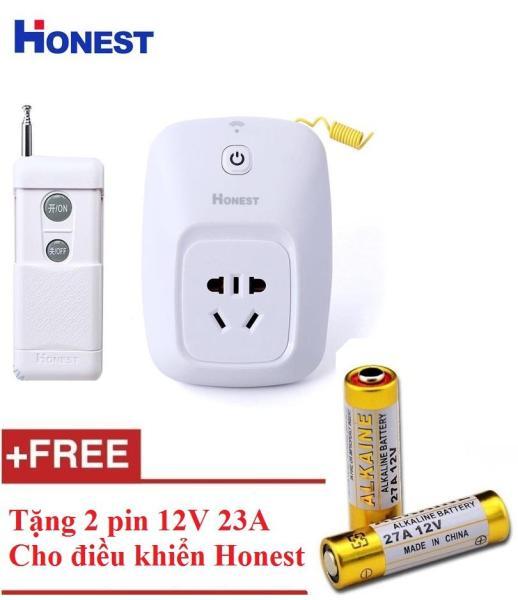 Ổ cắm điện điều khiển từ xa 1 km công suất lớn Honest HT-6805W + tặng 2 pin 12V 23A