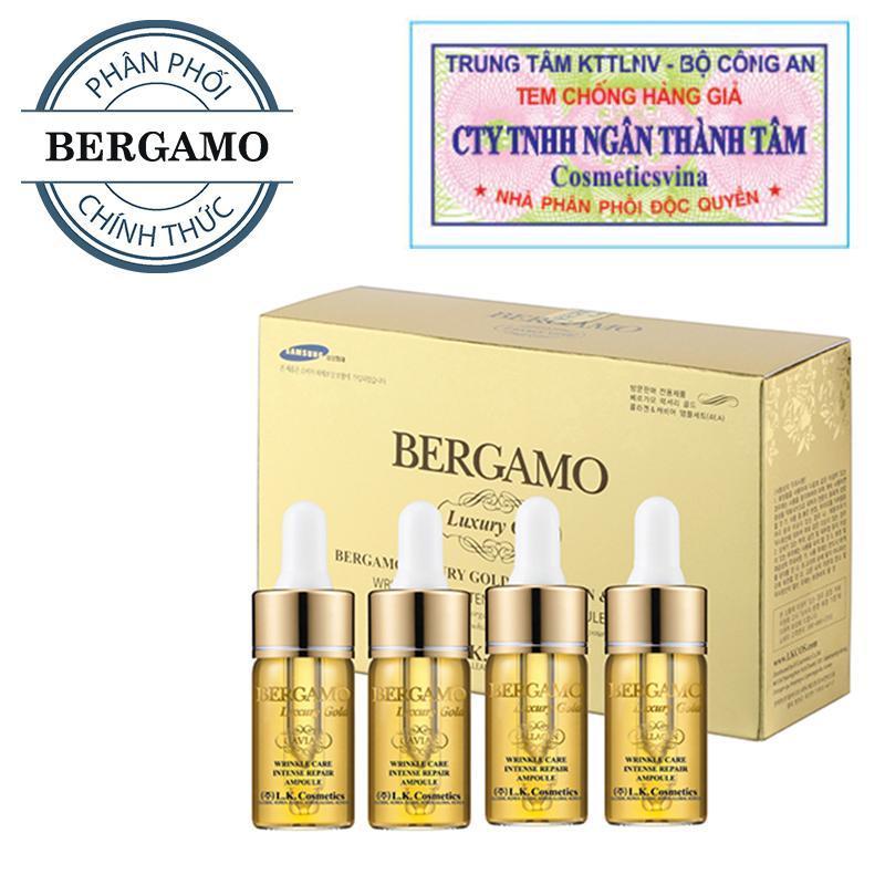 Set tinh chất trị mụn - dưỡng trắng - tái tạo da Bergamo Luxury Gold Collagen And Caviar 13ml/chai x 4 chai ( HÀNG CHÍNH HÃNG ) nhập khẩu