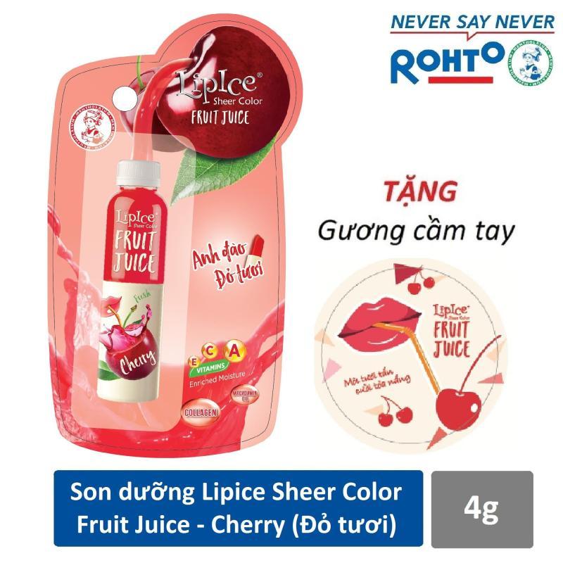 Son dưỡng chiết xuất trái cây Lipice Sheer Color Fruit Juice Cherry 4g (Anh Đào Đỏ Tươi) + Tặng gương cầm tay xinh xắn cao cấp