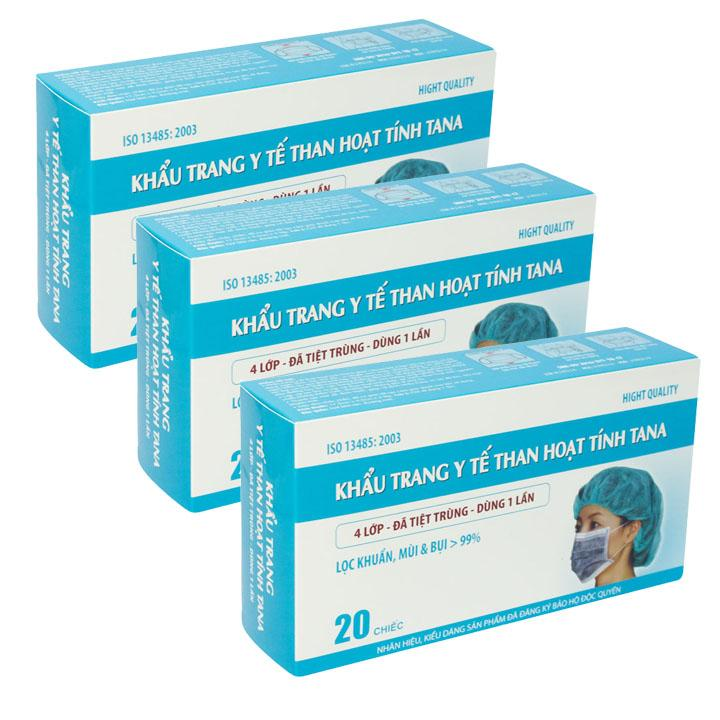Bộ 3 hộp Khẩu trang y tế than hoạt tính Tana hộp 20 chiếc