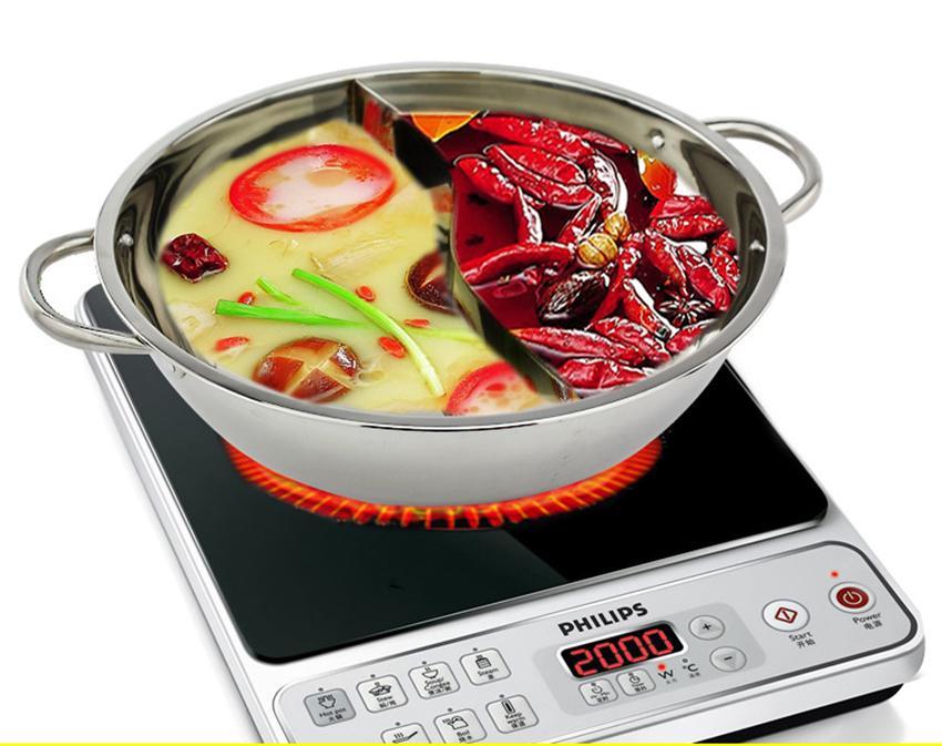 Gia noi lau dien, Gia noi nau lau, Nồi nấu lẩu inox 2 ngăn Hotpot, Hàng cao cấp, An toàn, Tiện dụng, Mẫu68