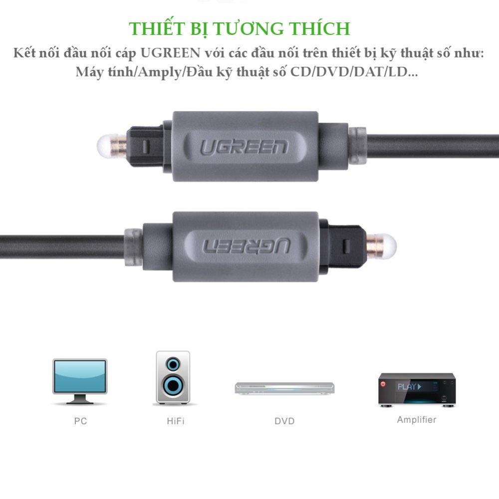 Dây audio quang Toslink truyền tải tín hiệu âm thanh với độ phân giải cực cao Hỗ trợ âm thanh Dolby Digital (5.17.1) AC3; DTS UGREEN AV122