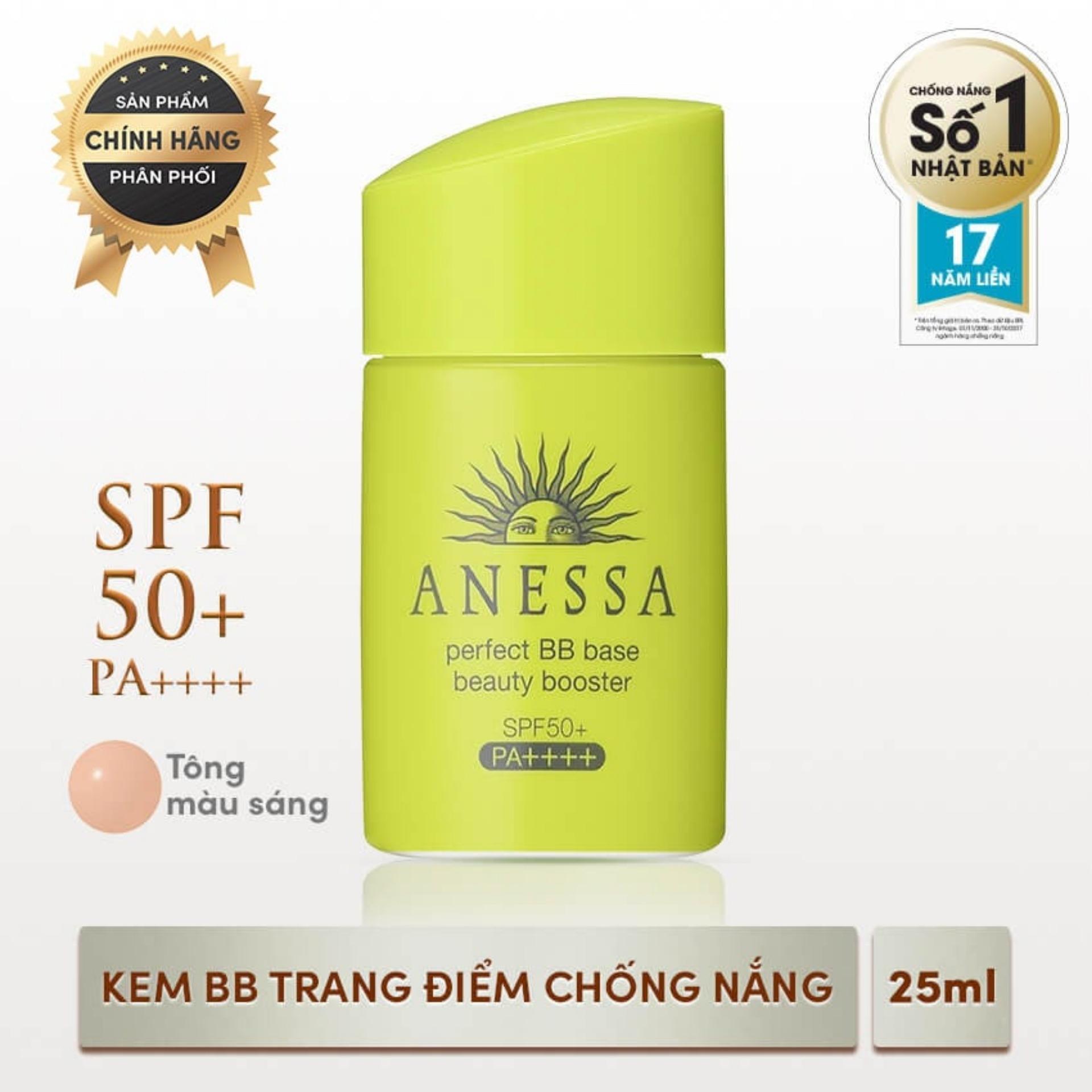 Kem trang điểm chống nắng khô thoáng ẩm mịn BB tông màu sáng mịn Anessa Perfect BB Base Beauty Booster Light - SPF 50+, PA++++ - 25ml tốt nhất