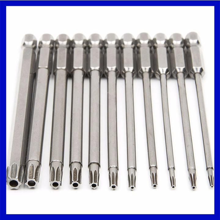 Bộ 11 mũi khoan lục giác hoa thị 100mm cho khoan pin , điện