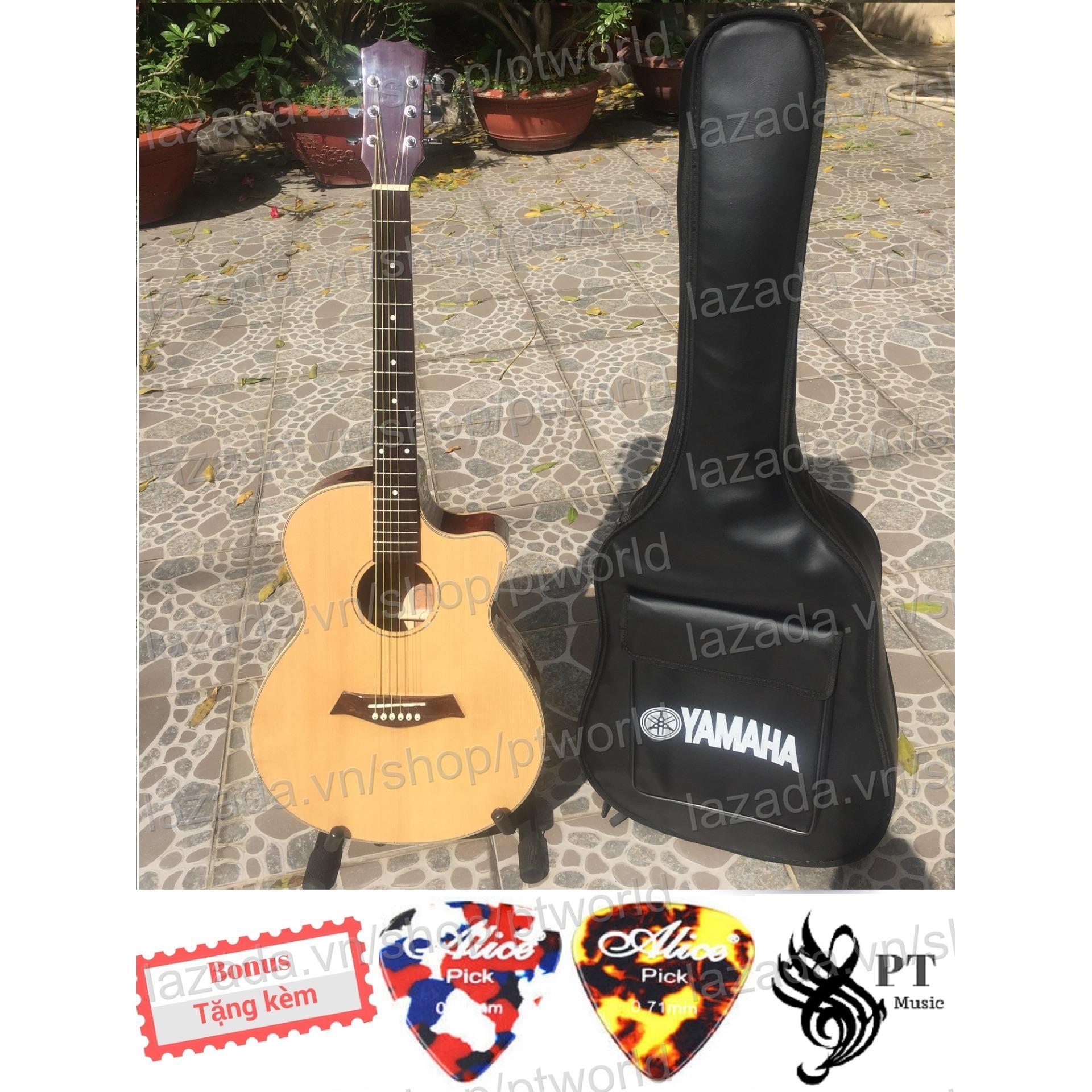 Đàn Guitar Acoustic Cao Cáp Gõ Hòng Đào Nguyen Tám Dáng A Khuyét Bao Da 3 Lớp 2 Picks Alice Đồng Nai Chiết Khấu