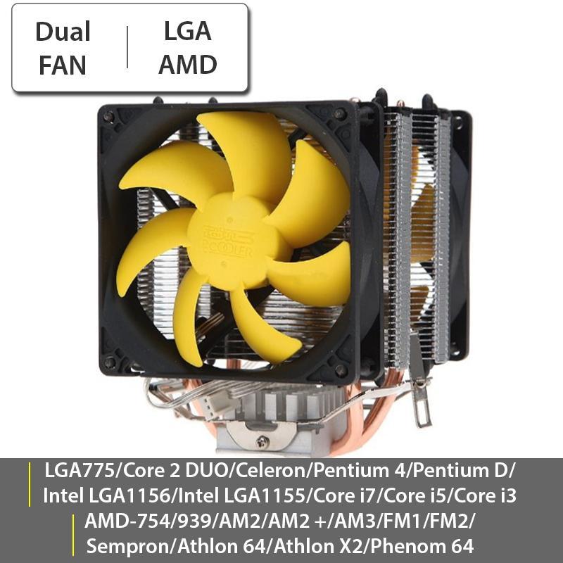 Quạt tản nhiệt cho Case CPU 2 FAN 9Cm 2 ống tản nhiệt PC Cooler S90D | Quạt làm mát CPU đa năng Socket Intel LGA775/i3/i5/i7 - AMD AM2/AM2+/AM3/FM1