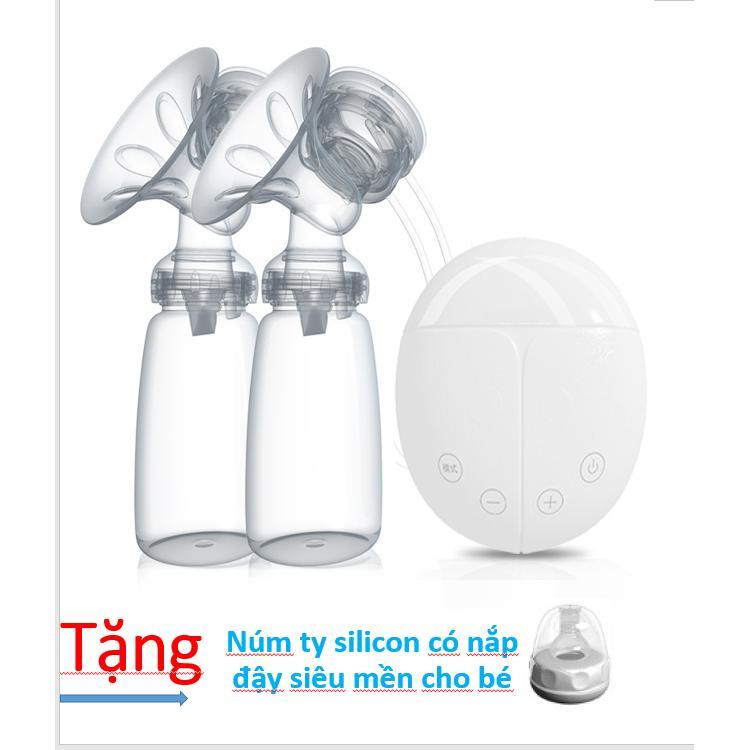 Máy hút sữa điện đôi Real Bubee + Tăng núm ty siêu mền cho bé ( Có chế độ massa kích sữa, Hút êm ái như em bé bú)