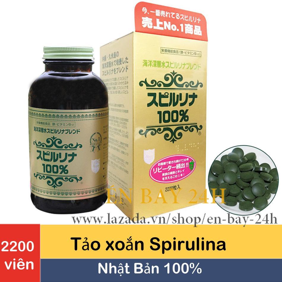 Tảo xoắn Spirulina Nhật Bản hộp 2200 viên hàng chuẩn Công ty