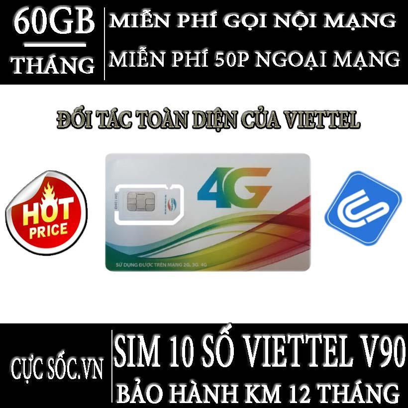 Hình ảnh HOT Sim 10 Số 3G/4G Viettel V90, KM 60GB/Tháng, Gọi miễn phí nội mạng-50 phút ngoại mạng