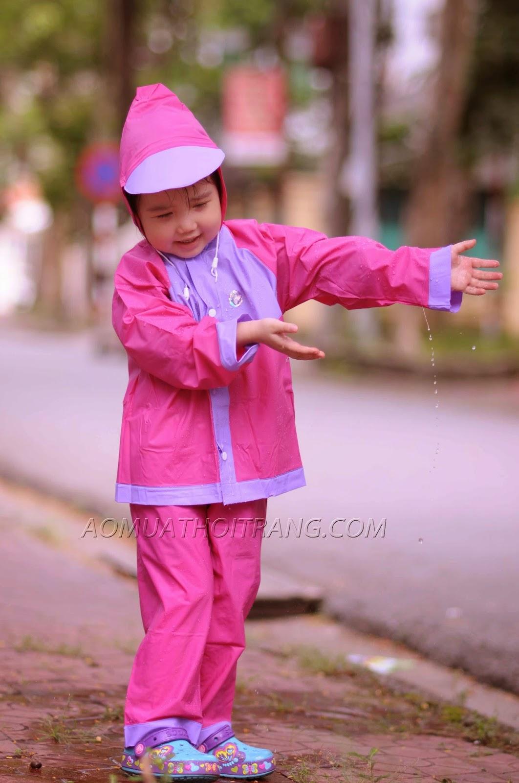 Áo mựa bộ Trẻ em Sơn Thủy vải nhựa màu hồng/Tím