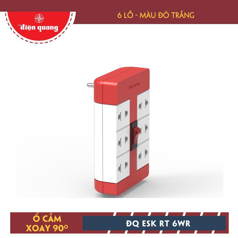 Ổ Cắm Xoay 90° Điện Quang ĐQ ESK RT 6WR (6 Lỗ, Màu Đỏ Trắng)