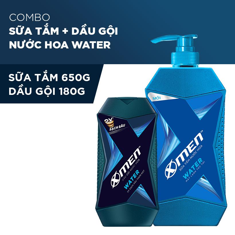 Sữa Tắm X-Men Nước hoa Water 650G + Dầu Gội Xmen Nước hoa Water 180G