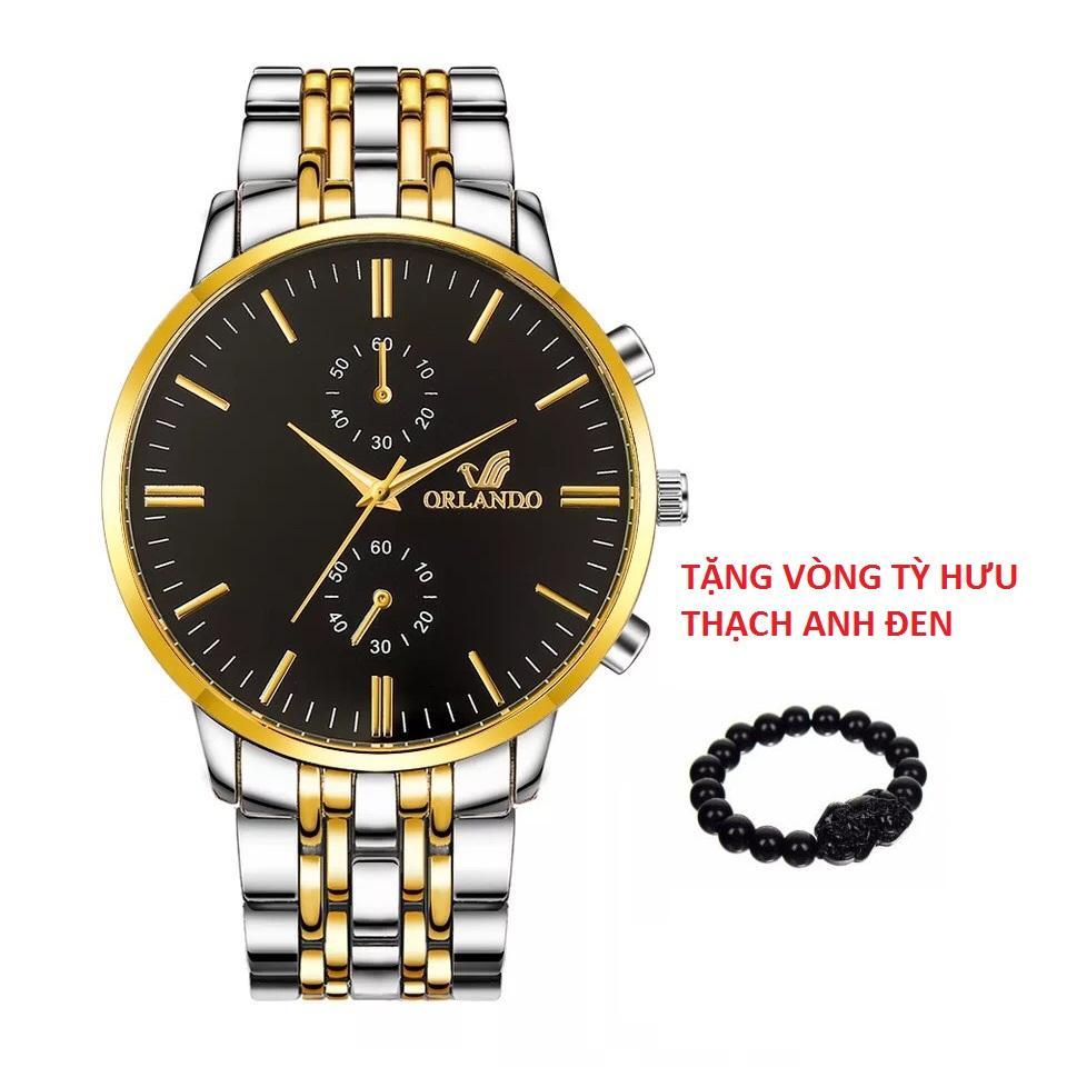 Hình ảnh Đồng hồ nam dây kim loại Orlando OLDD013 dây thép TẶNG Vòng tỳ hưu thạch anh đen