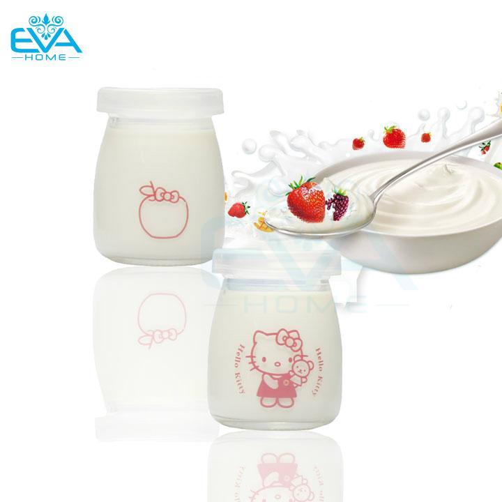 Hình ảnh Hộp 12 Hủ Thủy Tinh Đựng Sữa Chua 100ml In Hình Ngộ Nghĩnh Ngẫu Nhiên