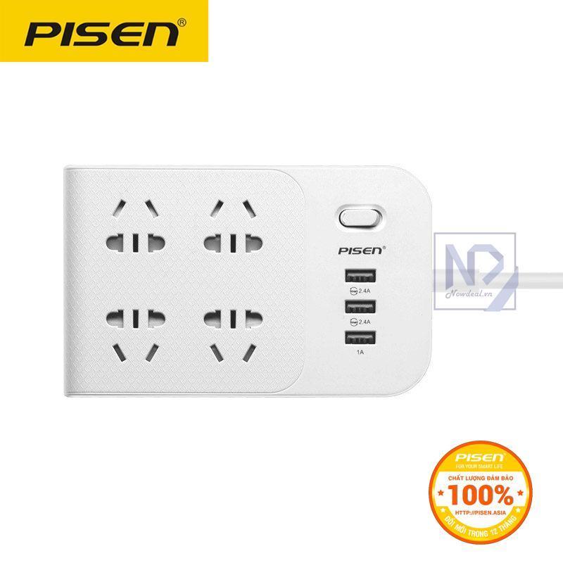 Ổ cắm điện thông minh Pisen 4AC 3USB BH-43 smart charge (Trắng) - Hàng phân phối chính thức