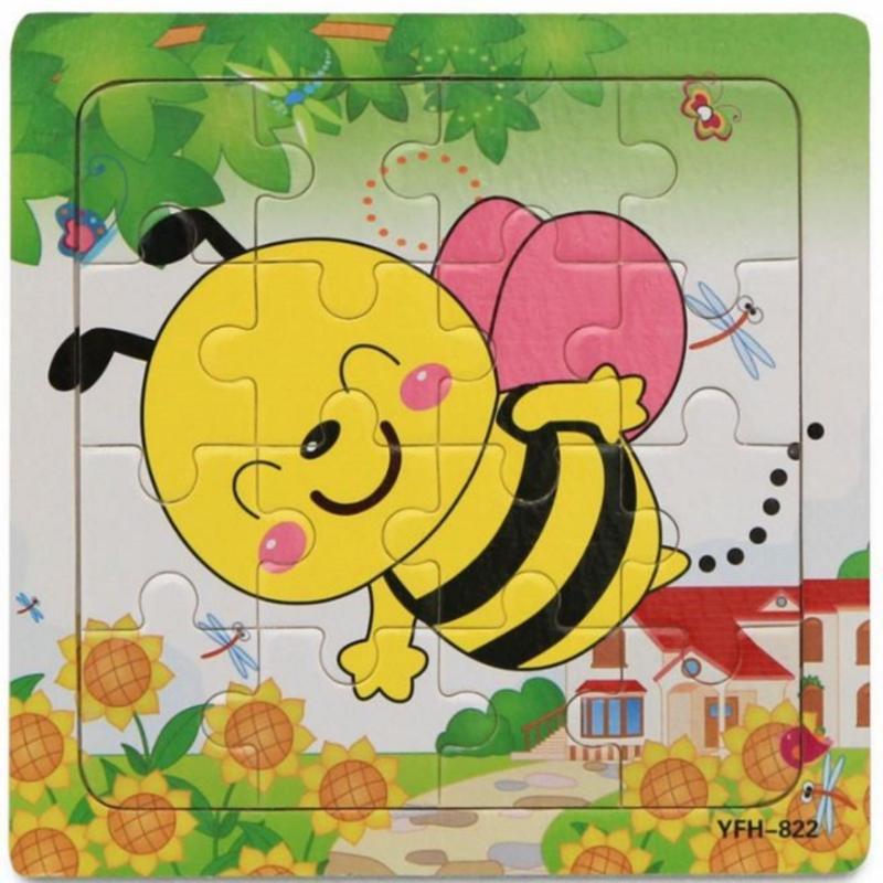 xếp hình thông minh bằng gỗ 16 miếng hình con ong cho bé