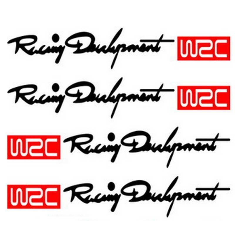 Sticker cho xe hơi 4 tem WRC Racing Development (Màu đen + đỏ)