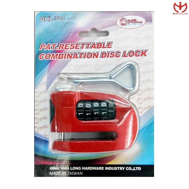 Ổ khóa đĩa xe máy bằng số GHL-701 (Đỏ)