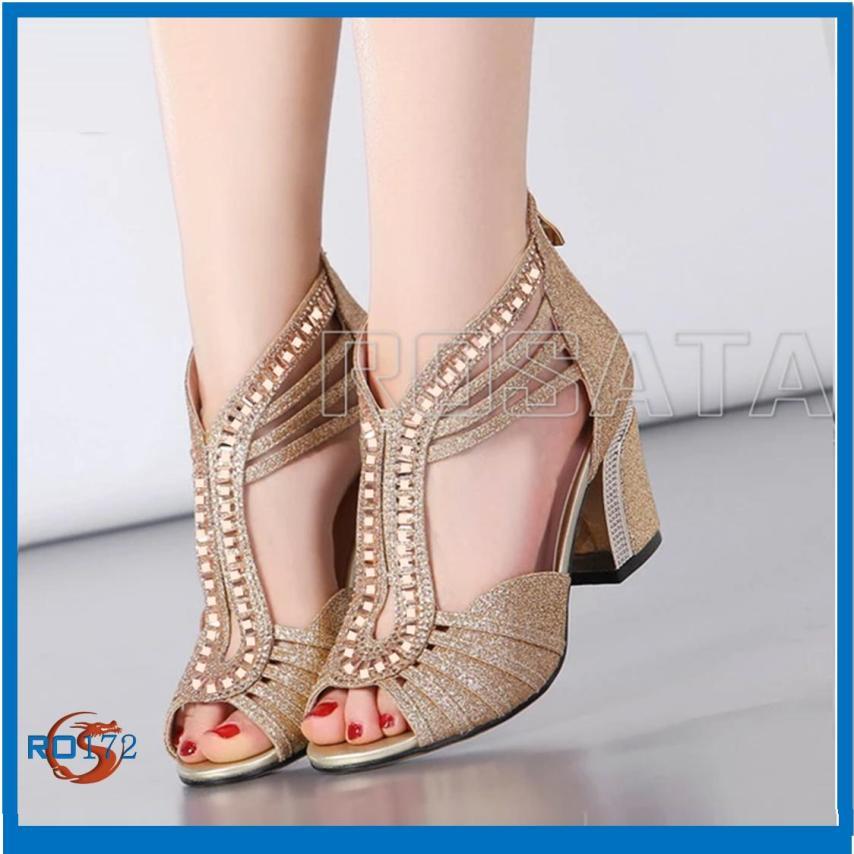 Giày sandal nữ đẹp cao gót hàng hiệu Rosata-vàng kim tuyến ai cập RO172 giá rẻ