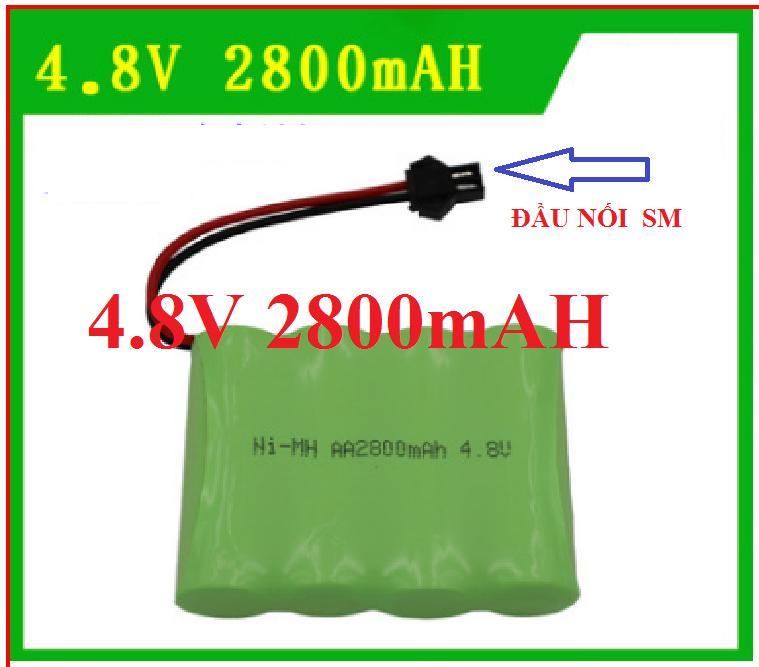 Hình ảnh Pin sạc 4.8v 2800mAH cổng SM dùng cho các xe đồ chơi điều khiển: xe tải, xe công trình , xe địa hình có cổng nối SM