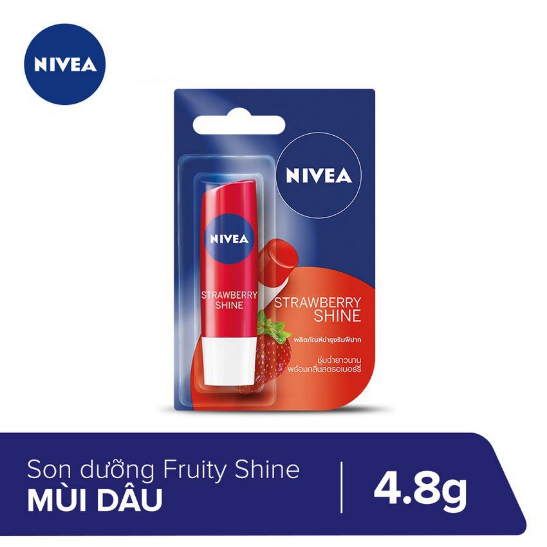 Son dưỡng môi Fruity Shine Strawberry Lip Balm Nivea 4.8g _ 85083