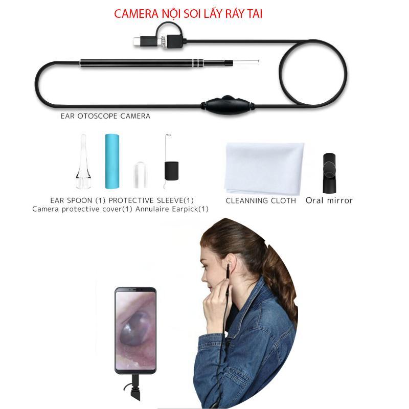 Camera nội soi lấy ráy tai Ear003 có đèn led hỗ trợ smartphone android và máy tính (với 3 đầu kết nối USB, mUSB và Type C)