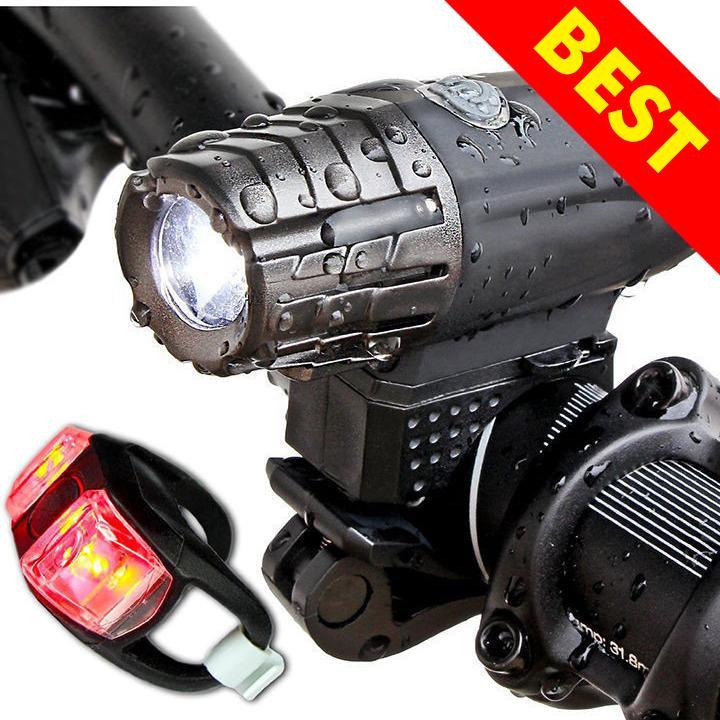 Hình ảnh Đèn pin chống nước cao cấp xe đạp và đèn hậu 5 chế độ