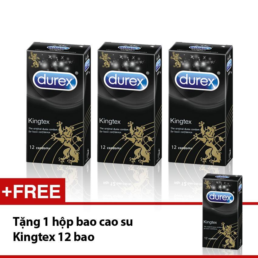 Bộ 3 hộp bao cao su Durex Kingtex (12 cái/hộp) + Tặng 1 hộp cùng loại nhập khẩu