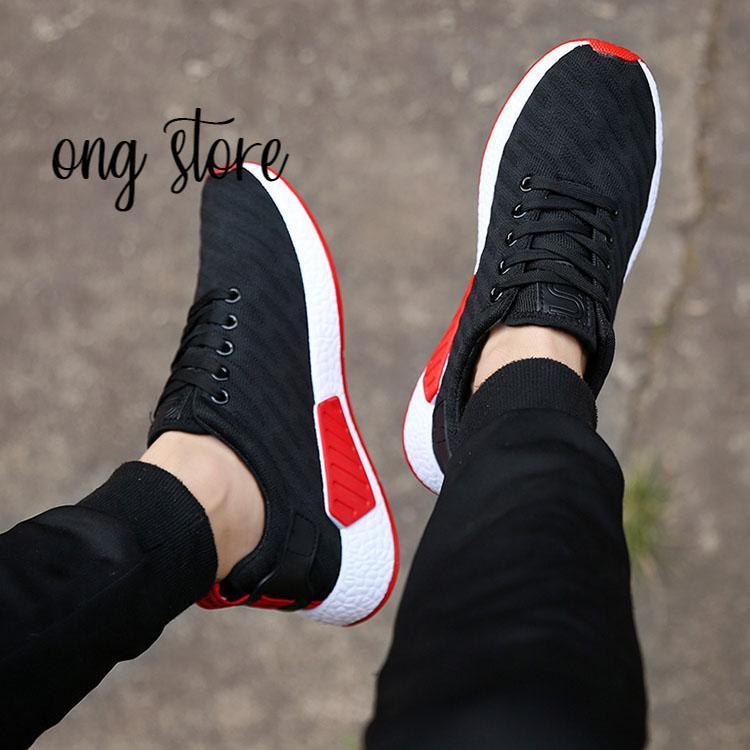 Giày thể thao nam giày sneaker nam gân đen đế đỏ