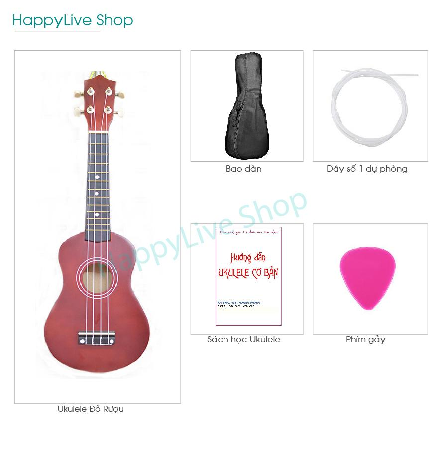 Đàn Ukulele Soprano gỗ + Tặng 4 phụ kiện (Bao Sách Dây dự phòng Phím gảy) - HappyLive Shop (Nhiều màu)