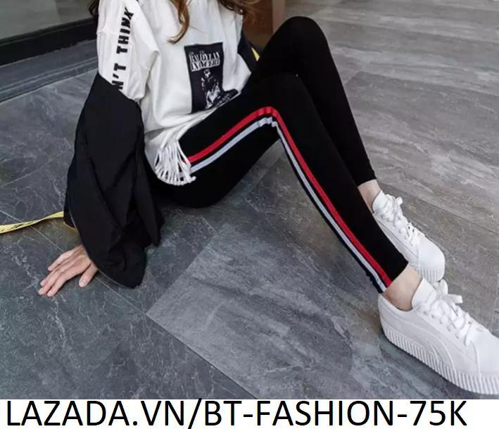 Quần Dài Nữ Thun Ôm Legging Thể Thao Thời Trang Hàn Quốc - BT Fashion (QTT03-2 SỌC)