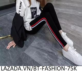 Quần Dài Nữ Thun Ôm Legging Thể Thao Thời Trang Hàn Quốc - BT Fashion (QTT05-2 SỌC) thumbnail