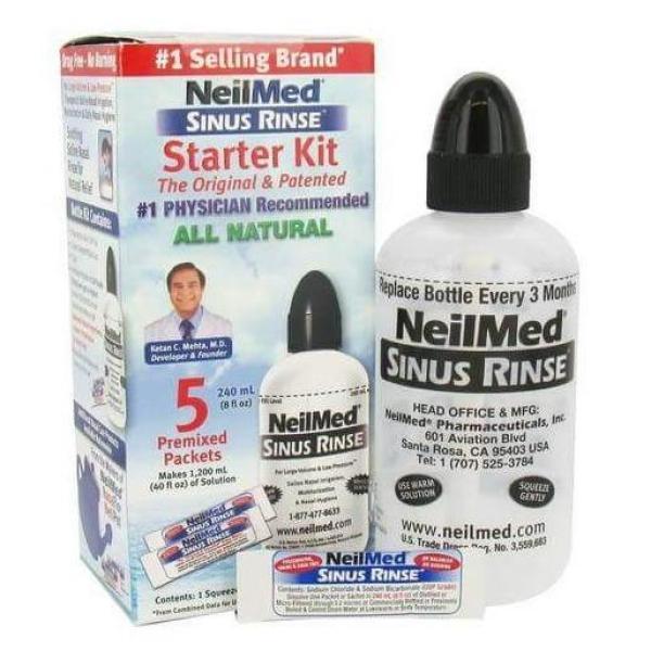 Bình rửa mũi NeilMed Sinus Rinse cho người lớn - (kèm 5 gói muối) (240ml)
