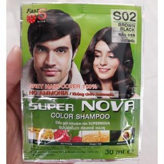Dầu gội Nhuộm tóc Thảo Dược Super Nova S02 ( Màu Nâu Đen ) 30ml thumbnail