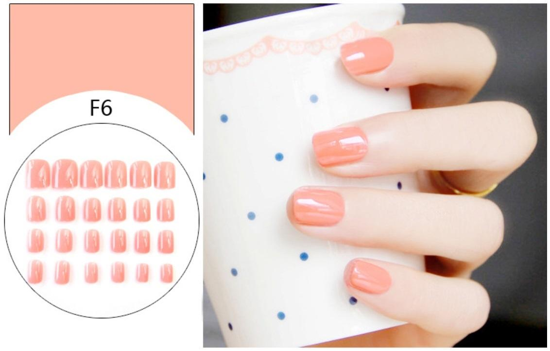 Bộ 24 móng tay giả màu cam nhạt đầu vuông (kèm keo+miếng dán+dũa) tốt nhất