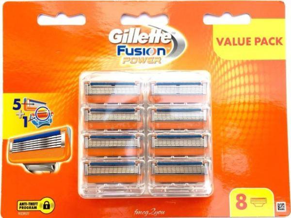 Vỉ 8 Lưỡi Dao Cạo Râu Gillette Fusion Power 5+1 nhập khẩu