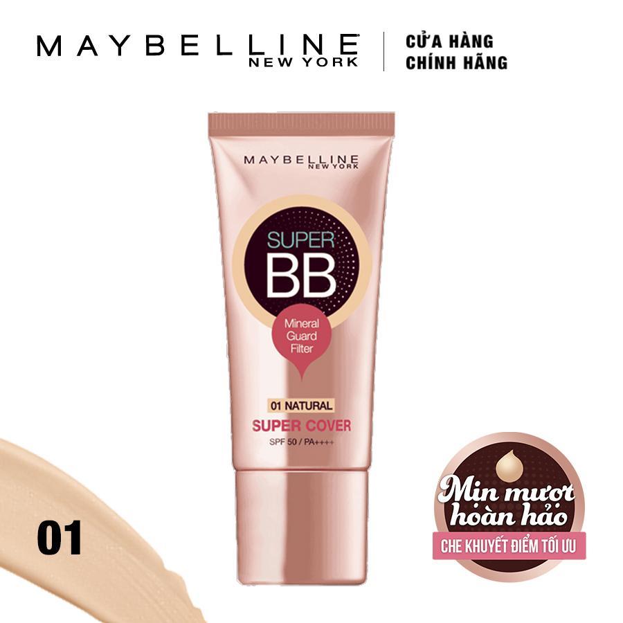 Kem trang điểm siêu mịn bảo vệ Maybelline New York BB Super cover SPF50/PA++++ 30ml (Tông tự nhiên)