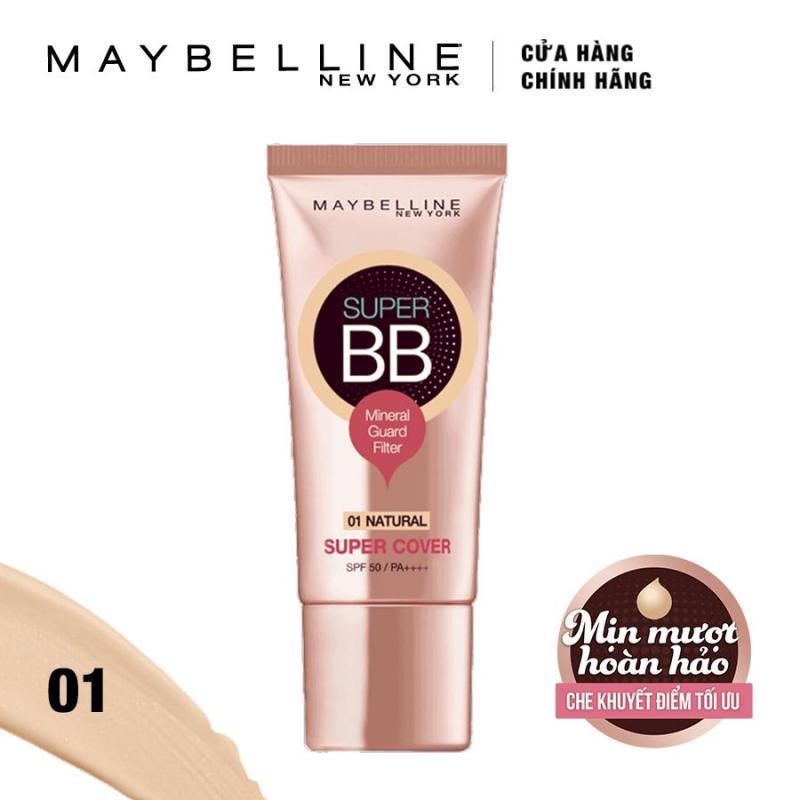 Kem trang điểm siêu mịn bảo vệ Maybelline New York BB Super cover SPF50/PA++++ 30ml (Tông tự nhiên) nhập khẩu