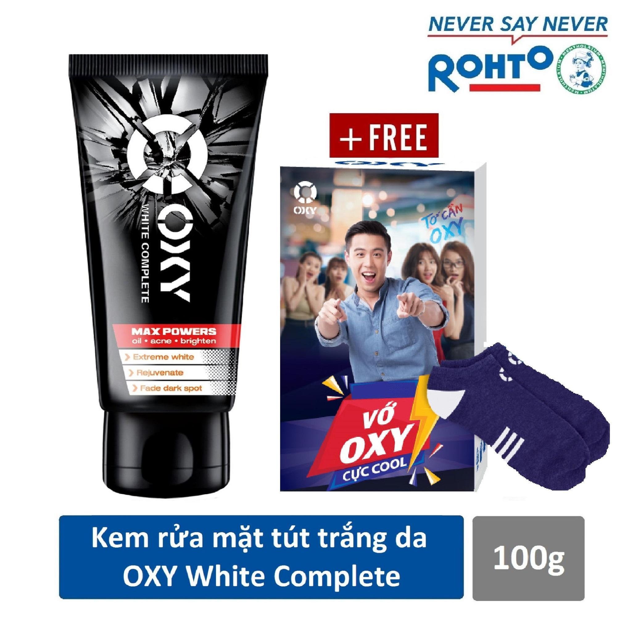 Kem rửa mặt tút da trắng khỏe cho nam Oxy White Complete 100g + Tặng Vớ OXY cực cool
