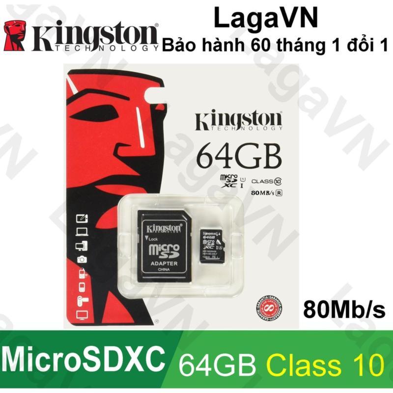 Thẻ nhớ Kingston 64GB MicroSDHC/SDXC Class 10 UHS-I 80Mb/s + SD Adapter