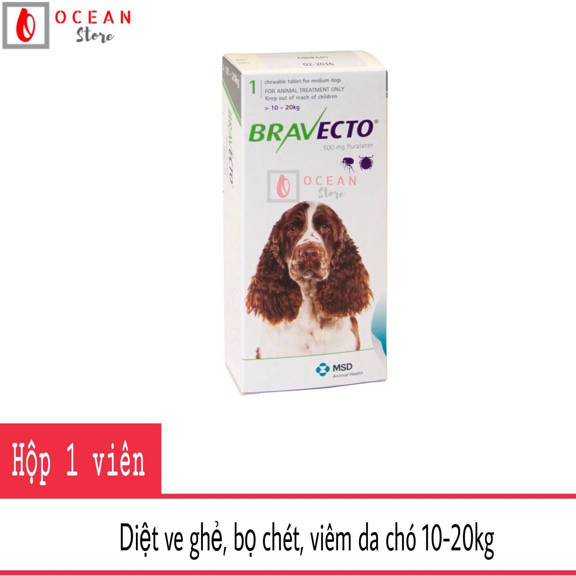Thuốc trị ve ghẻ, viêm da, demodex cho chó - Bravecto chó 10-20kg Nhật Bản