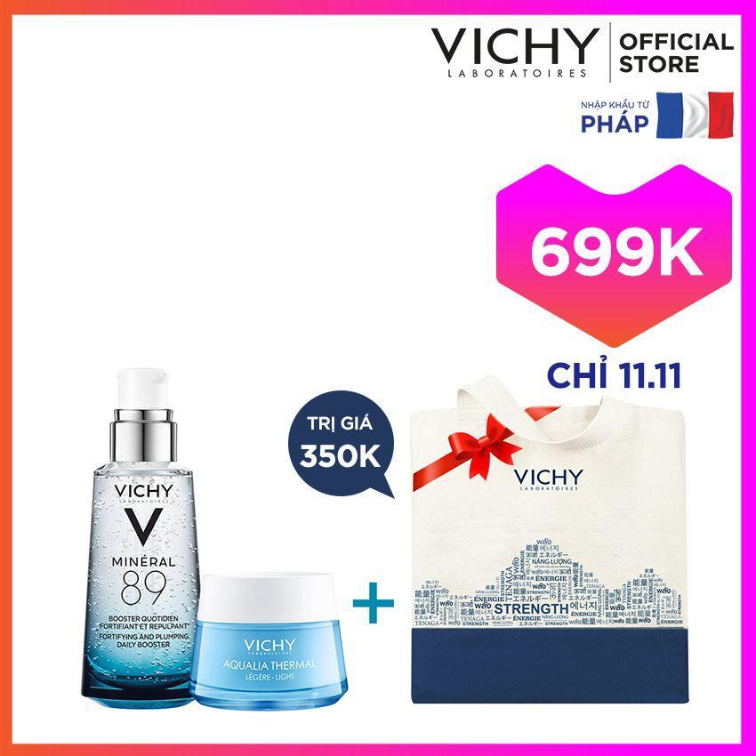 Bộ đôi dưỡng chất khoáng cô đặc giúp bảo vệ và phục hồi da Vichy Mineral 89 50ML và kem dưỡng ẩm Aqualia Gel Cream 15ML tặng túi Tote Vichy cao cấp