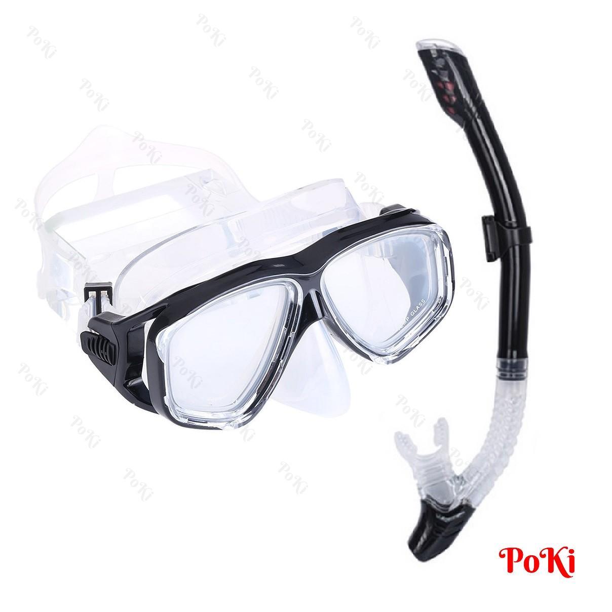 Bộ kính lặn Ống thở S301 - mắt KÍNH CƯỜNG LỰC, ống thở van 1 chiều ngăn nước, đồ thể thao chuyên dụng cao cấp - POKI