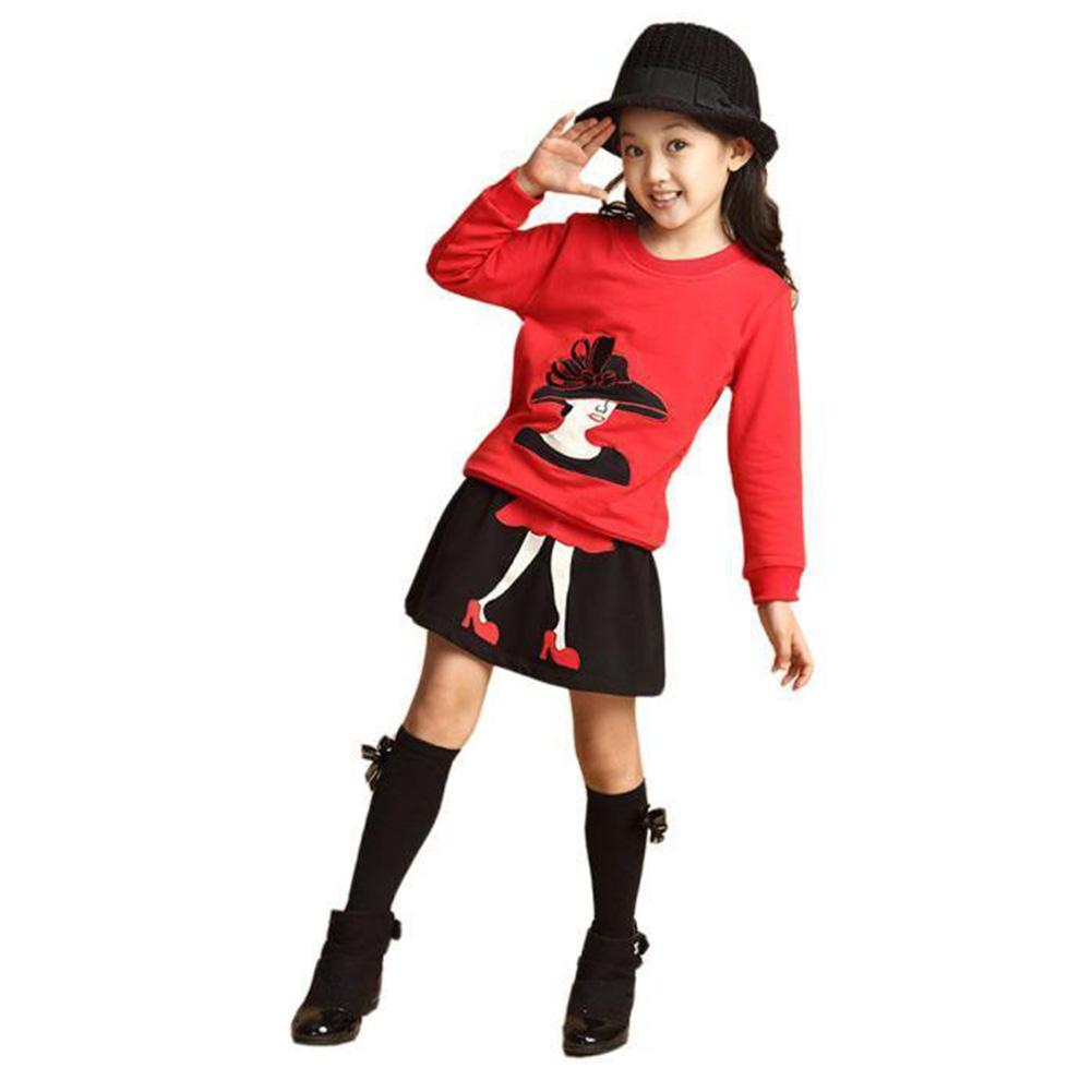 2 cái Bé Gái Tay Dài Váy Phù Hợp Với Thời Trang Áo Thun Chui Đầu Đầu + Váy Bộ Phù Hợp Với Áo dành cho Trẻ Em