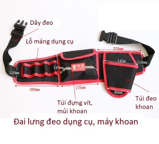 Đai lưng đeo dụng cụ, máy khoan tiện dụng