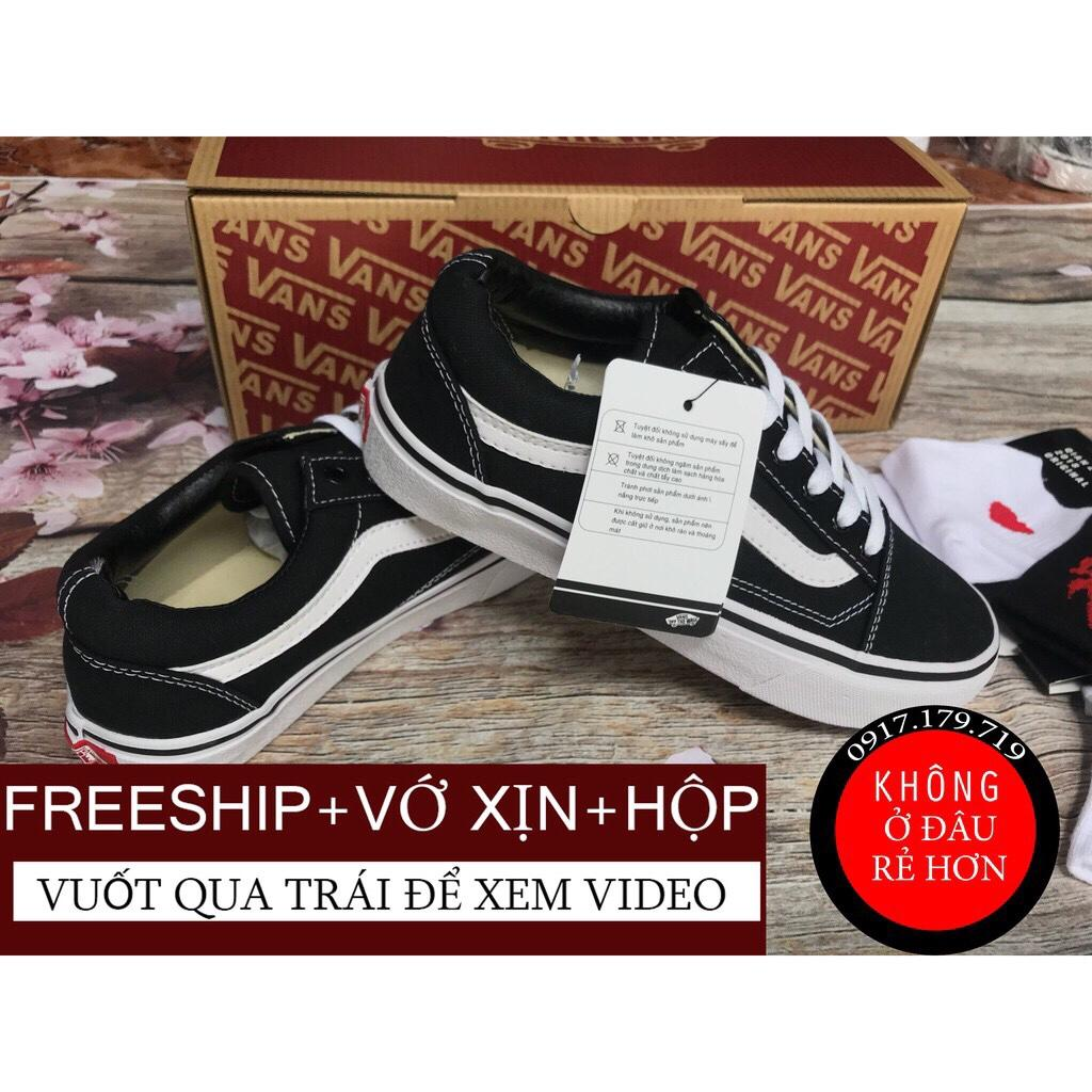 Hình ảnh [TẶNG VỚ+HỘP+FREESHIP] Giày Vans Old Skool Đen Đế Trắng Nam Nữ Hàng VNXK