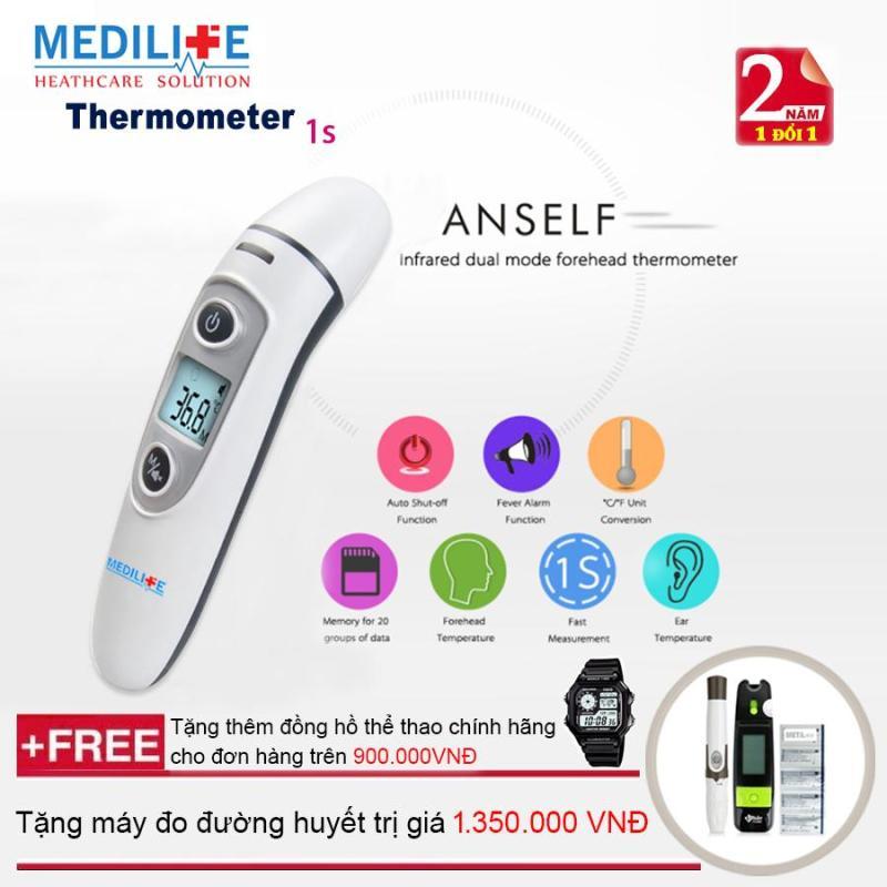 Nhiệt kế điện tử hồng ngoại đo tai và trán Medilife - IFR600 + Tặng bộ máy đo đường huyết Uright - TD 4265 + Mua từ 2 đơn trở lên tặng thêm đồng hồ thể thao (OEM) bán chạy